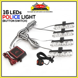 16 LEDs Button Control Grill Police Storbe Flash - Button Control Grill Police LED Lights - LED-4-4R-C