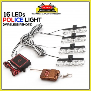 16 LEDs Wirless Remote Grill Police Storbe Flash -Wirless Remote Grill Police LED Lights - RH-9204