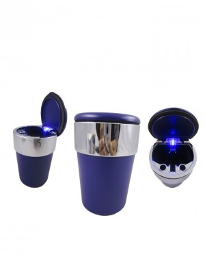 Silver Strip Cup Holder - Ashtray - Blue