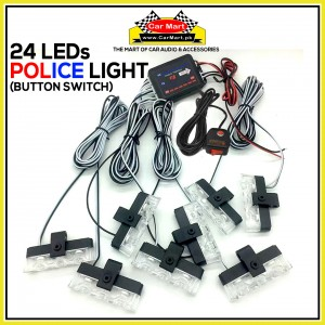 24 LEDs Button Control Grill Police Storbe Flash - Button Control Grill Police LED Lights - JH-100-V38C