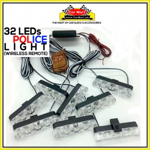 32 LEDs Wirless Remote Grill Police Storbe Flash - Wirless Remote Grill Police LED Lights -PL-9204