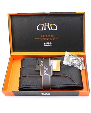 35D19 Black Leather Rust Hand Stiched Steering Cover