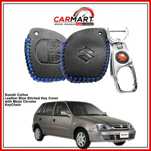 Suzuki Cultus Leather Stiched Car Key Cover with Metal Chrome Key Cover