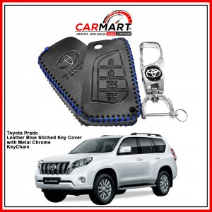 Toyota Prado Leather Stiched Car Key Cover with Metal Chrome Key Cover - Blue