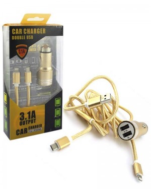 Metal Charger Duel Usb 3.1 Gold
