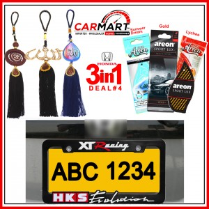 Deal # 6 - Honda 3 in 1 Deal - Number Plate Cover, Perfume Card, Islamic Hanging