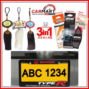 Deal # 5 - Honda 3 in 1 Deal - Number Plate Cover, Perfume Card, Islamic Hanging
