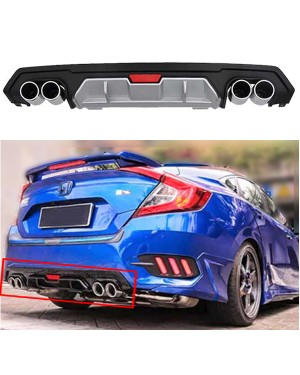 Honda Civic 2016 - 2018 Dual Exhaust Rear Bumper Diffuser