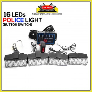 16 LEDs Button Control Grill Police Storbe Flash - Button Control Grill Police LED Lights. - LED-4R-C