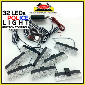32 LEDs Button Control Grill Police Storbe Flash - Button Control Grill Police LED Lights - JH-100-V48C