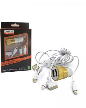 Fc Rohs Car Charger 4in1 Gold