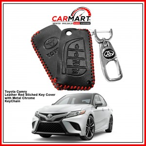 Toyota Camry Leather Stiched Car Key Cover with Metal Chrome Key Cover - Red