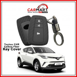 Carbon Fiber Style Car Key Cover for Toyota CHR, Toyota Prius with High Quality Rob Keychain