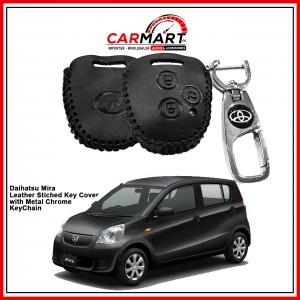 Daihatsu Mira Leather Stiched Car Key Cover with Metal Chrome Key Cover