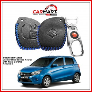 Suzuki New Cultus Leather Stiched Car Key Cover with Metal Chrome Key Cover