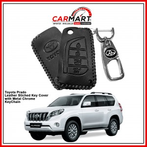 Toyota Prado Leather Stiched Car Key Cover with Metal Chrome Key Cover