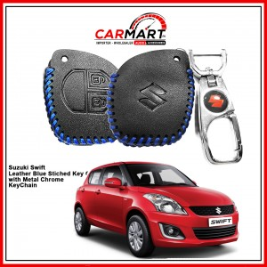 Suzuki Swift Leather Stiched Car Key Cover with Metal Chrome Key Cover