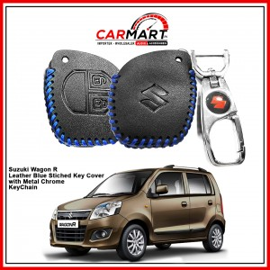 Suzuki Wagon R Leather Stiched Car Key Cover with Metal Chrome Key Cover