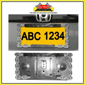Chrom Chain and Metal Base Number Plate Frame - Chrom Chain and Metal Base License Plate frame