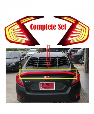 Honda Civic Back Lamps Black Smoke with Complete LED Spoiler – Model 2016-2017