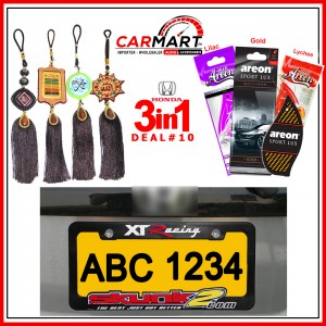 Deal # 10 - Honda 3 in 1 Deal - Number Plate Cover, Perfume Card, Islamic Hanging