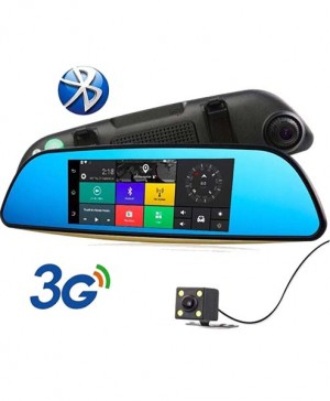 3G Android Car DVR Mirror Camera GPS Bluetooth Dual Lens FHD 1280p