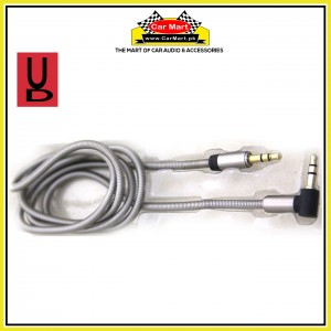 UD - 1m Stereo Jack with Metal Spring Body - AUX Cable 3.5mm Coiled Lead Male Audio with Gold Plated