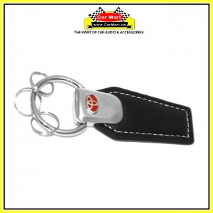 Toyota Leather Keychain Silver and Red- High quality creative design Toyota Leather Keychain Silver and Red