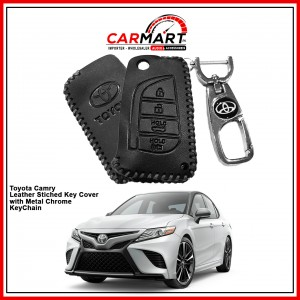 Toyota Camry Leather Stiched Car Key Cover with Metal Chrome Key Cover