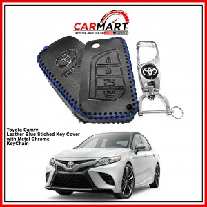 Toyota Camry Leather Stiched Car Key Cover with Metal Chrome Key Cover - Blue