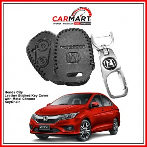 Honda City Leather Stiched Car Key Cover with Metal Chrome Key Cover