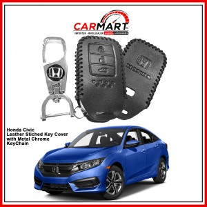 Honda Civic Leather Stiched Car Key Cover with Metal Chrome Key Cover