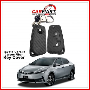 Carbon Fiber Style Car Key Cover for Toyota Corolla 2018 with High Quality Rob Keychain