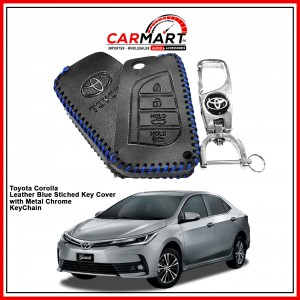 Toyota Corolla Leather Stiched Car Key Cover with Metal Chrome Key Cover - Blue