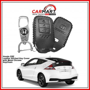 Honda CRZ Leather Stiched Car Key Cover with Metal Chrome Key Cover