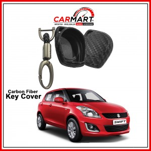 Carbon Fiber Style Car Key Cover for Suzuki Alto, New Cultus, Old Cultus, Swift, Wagon-R with High Quality Rob Keychain