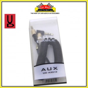 UD - 1m Stereo Jack AUX Cable 3.5mm Coiled Lead Male Audio with Gold Plated - UD-AX010 - Black