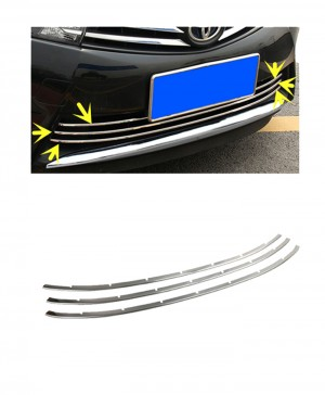 Toyota Corolla Front Lower Chrome Grille 3 Pcs- Model 2014-2017