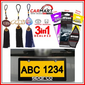 Deal # 12 - Honda & Toyota 3 in 1 Deal - Number Plate Cover, Perfume Card, Islamic Hanging