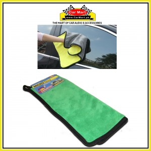 Microfiber Car Cleaning plush cloth - Double sided soft car wash absorbent towel - MF1 Green