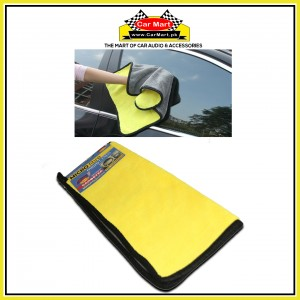 Microfiber Car Cleaning plush cloth - Double sided soft car wash absorbent towel - MF1 Yellow