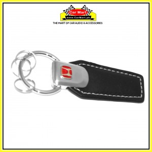Honda Leather Keychain Silver and Red - High quality creative design Honda Leather Keychain Silver and Red