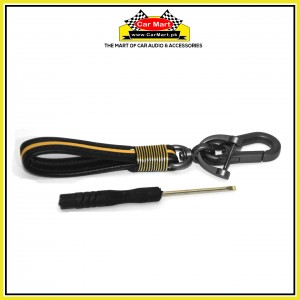 Universal Leather Keychain with Key Hanger - Yellow and Black - High quality creative design Universal Leather Keychain Yellow and Black