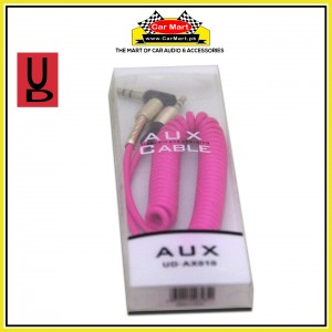 UD - 1m Stereo Jack AUX Cable 3.5mm Coiled Lead Male Audio with Gold Plated - UD-AX010