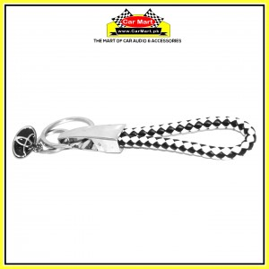 Toyota Rope Keychain with Dual Logo White and Black - High quality creative design Toyota Rope Keychain with Dual Logo White and Black