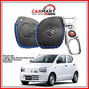 Suzuki Alto Leather Stiched Car Key Cover with Metal Chrome Key Cover