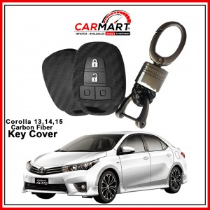 Carbon Fiber Style Car Key Cover for Toyota Corolla 2014, 2015 with High Quality Rob Keychain