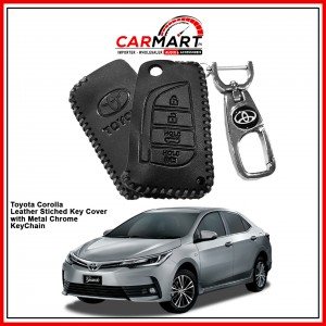 Toyota Corolla Leather Stiched Car Key Cover with Metal Chrome Key Cover