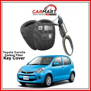 Carbon Fiber Style Car Key Cover for Toyota Passo, Hiace with High Quality Rob Keychain