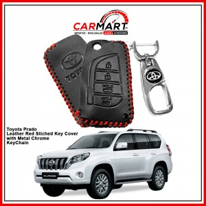 Toyota Prado Leather Stiched Car Key Cover with Metal Chrome Key Cover - Red
